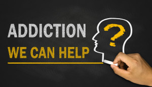 addiction?we can help on blackboard background